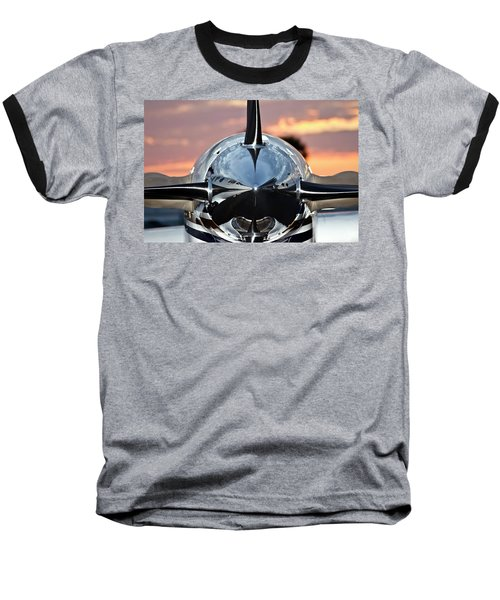 Airplane At Sunset Baseball T-Shirt by Carolyn Marshall