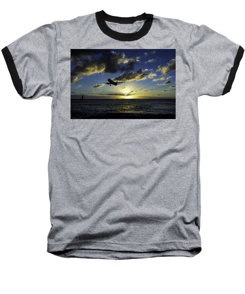 jetBlue landing at St. Maarten Baseball T-Shirt by David Gleeson