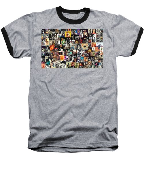Jimi Hendrix Collage Baseball T-Shirt