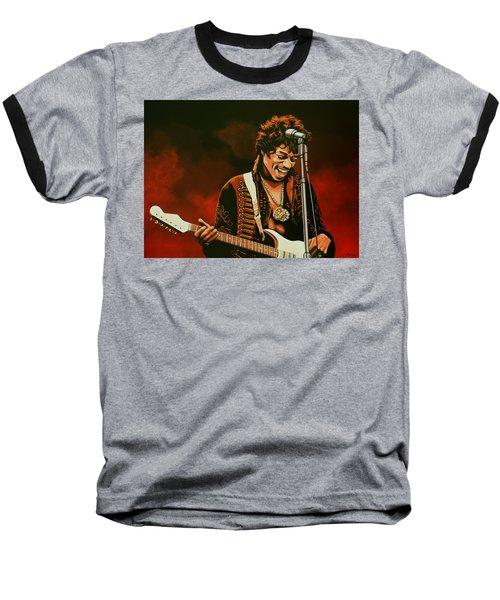 Jimi Hendrix Painting Baseball T-Shirt by Paul Meijering
