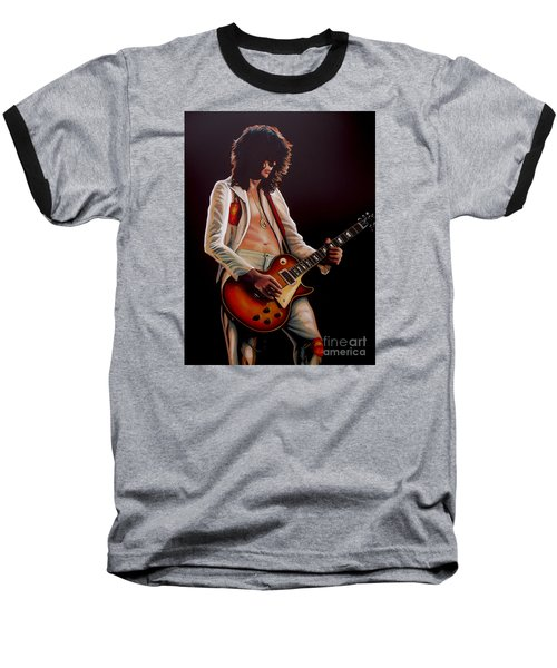 Jimmy Page In Led Zeppelin Painting Baseball T-Shirt by Paul Meijering