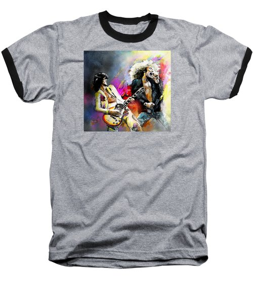 Jimmy Page And Robert Plant Led Zeppelin Baseball T-Shirt by Miki De Goodaboom