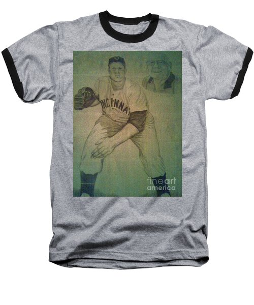 Baseball T-Shirt featuring the drawing Joe Nuxhall by Christy Saunders Church