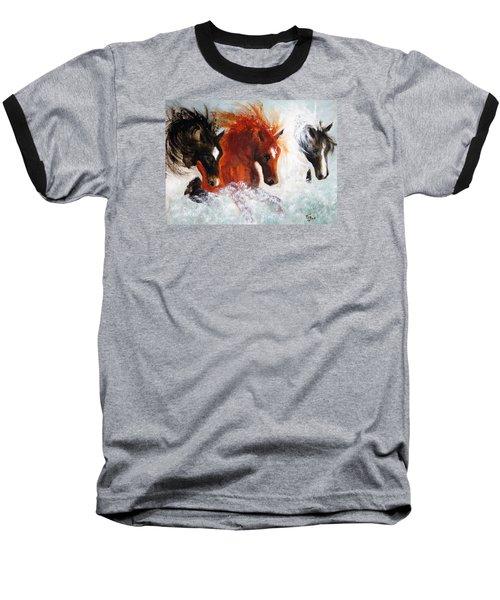 Baseball T-Shirt featuring the painting Joe Tj Apache by Barbie Batson