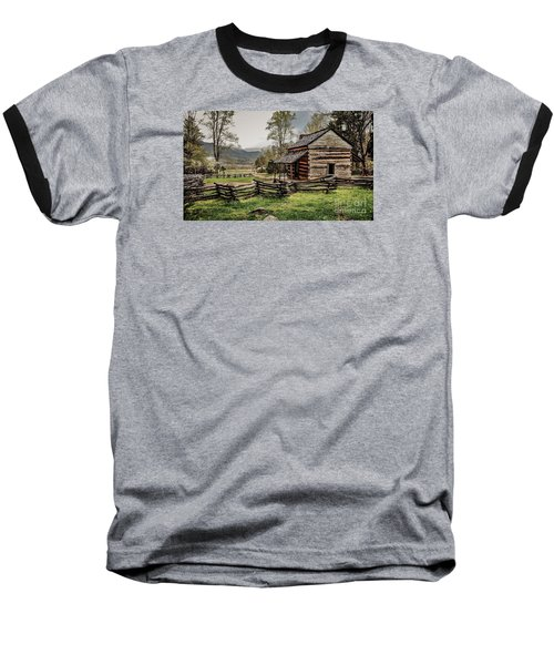 Baseball T-Shirt featuring the photograph John Oliver's Cabin In Spring. by Debbie Green