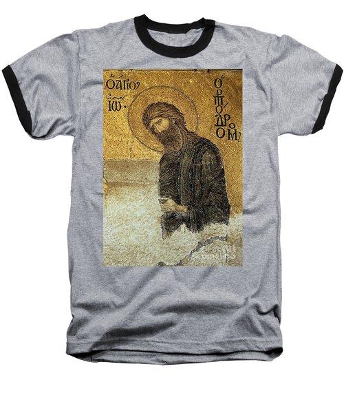 John The Baptist-detail Of Deesis Mosaic  Hagia Sophia-judgement Day Baseball T-Shirt