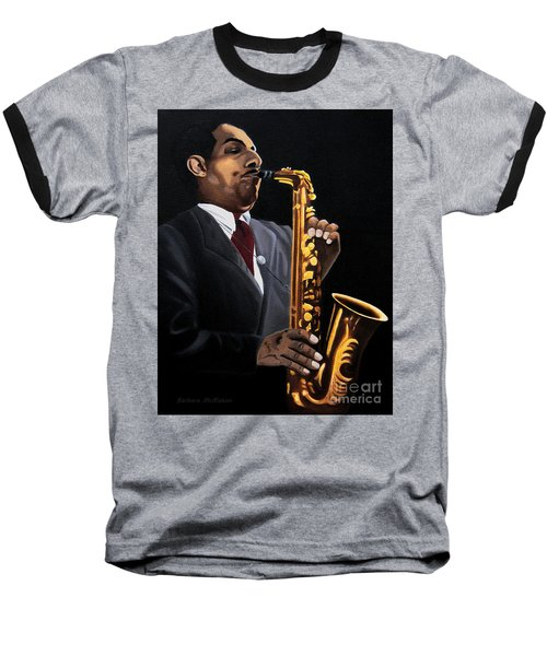 Baseball T-Shirt featuring the painting Johnny And The Sax by Barbara McMahon