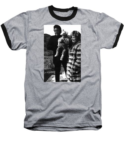 Baseball T-Shirt featuring the photograph Johnny Cash And Family Old Tucson Arizona 1971 by David Lee Guss