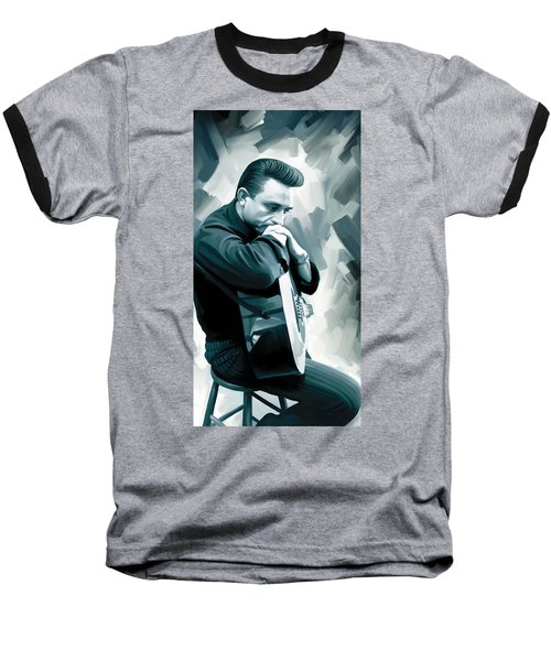 Johnny Cash Artwork 3 Baseball T-Shirt