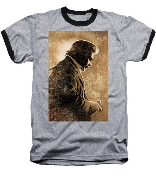 Johnny Cash Artwork Baseball T-Shirt by Sheraz A