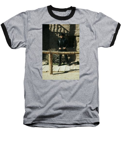 Baseball T-Shirt featuring the photograph Johnny Cash Gunfighter Hitching Post Old Tucson Arizona 1971 by David Lee Guss