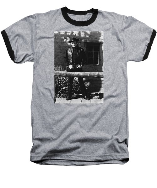 Baseball T-Shirt featuring the photograph Johnny Cash Gunslinger Hitching Post Old Tucson Arizona 1971  by David Lee Guss