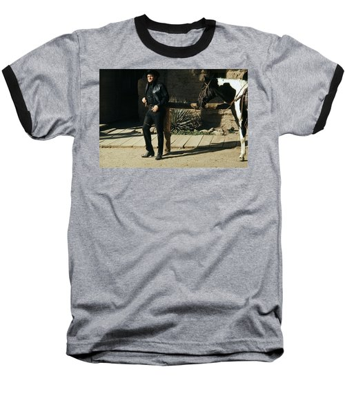 Baseball T-Shirt featuring the photograph Johnny Cash Horse Old Tucson Arizona 1971 by David Lee Guss