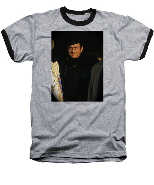 Baseball T-Shirt featuring the photograph Johnny Cash Music Homage Solitary Man Flanked By Chill Wills  Andy Devine Old Tucson Az 1971 by David Lee Guss