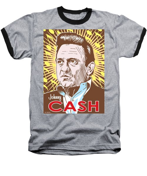 Johnny Cash Pop Art Baseball T-Shirt by Jim Zahniser