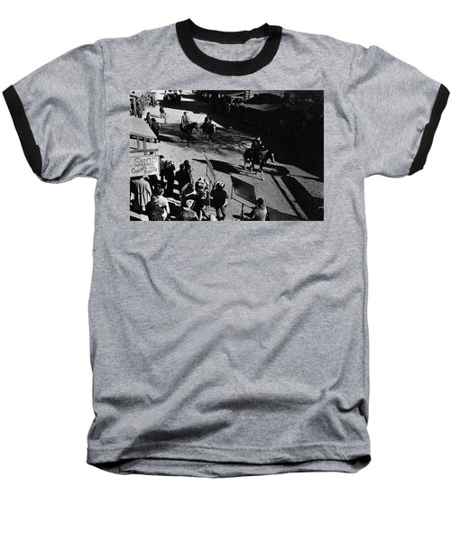 Baseball T-Shirt featuring the photograph Johnny Cash Riding Horse Filming Promo Main Street Old Tucson Arizona 1971 by David Lee Guss
