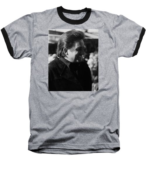 Baseball T-Shirt featuring the photograph Johnny Cash Smiling Old Tucson Arizona 1971 by David Lee Guss