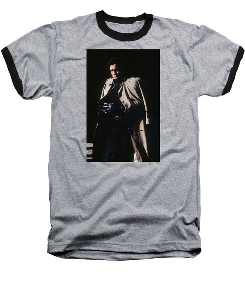 Baseball T-Shirt featuring the photograph Johnny Cash Trench Coat Old Tucson Arizona 1971 by David Lee Guss