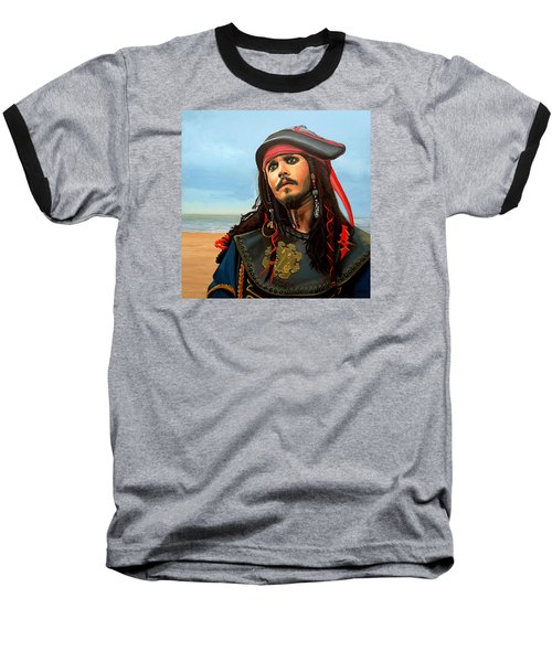 Johnny Depp As Jack Sparrow Baseball T-Shirt