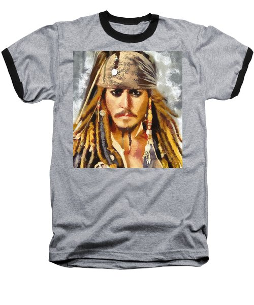 Baseball T-Shirt featuring the painting Johnny Depp Jack Sparrow Actor by Georgi Dimitrov