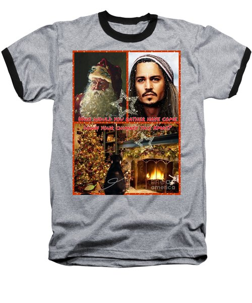 Johnny Depp Xmas Greeting Baseball T-Shirt