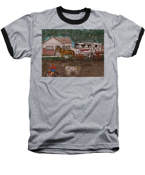 Johnsons Milk Wagon Pulled By A Horse  Baseball T-Shirt by Kathy Marrs Chandler