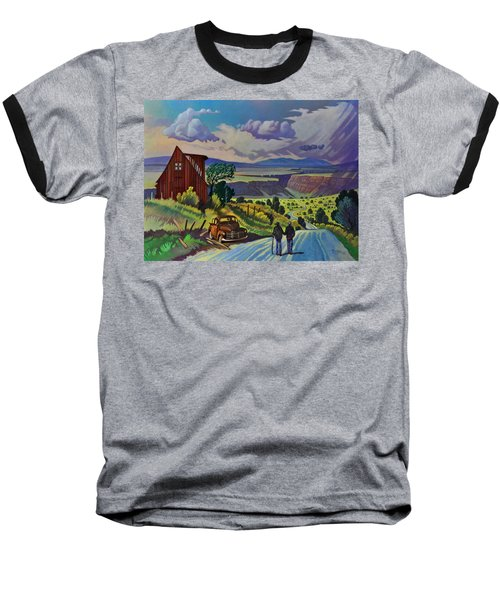 Baseball T-Shirt featuring the painting Journey Along The Road To Infinity by Art James West