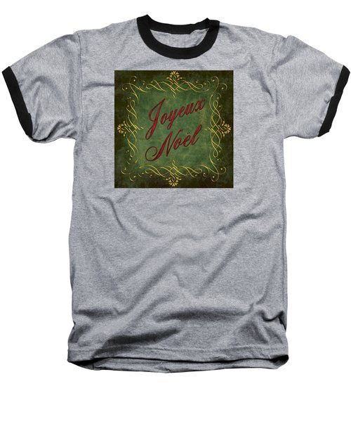 Joyeux Noel In Green And Red Baseball T-Shirt by Caitlyn  Grasso