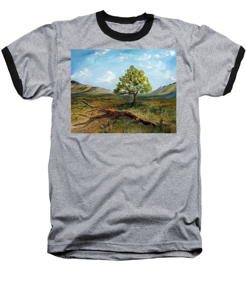 Baseball T-Shirt featuring the painting Jubilant Fields by Meaghan Troup