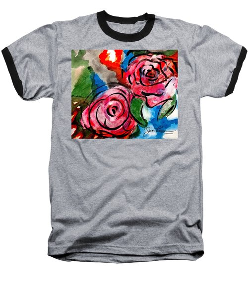 Juicy Red Roses Baseball T-Shirt by Joan Reese