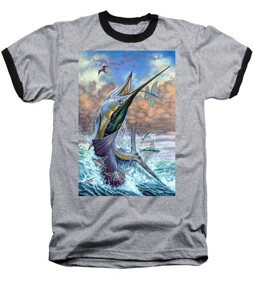 Jumping Sailfish And Flying Fishes Baseball T-Shirt