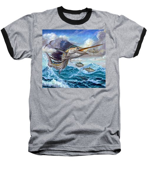 Jumping Sailfish And Small Fish Baseball T-Shirt