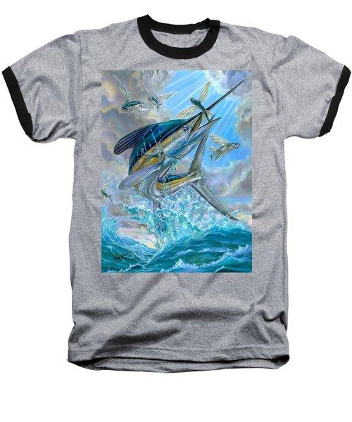 Jumping White Marlin And Flying Fish Baseball T-Shirt
