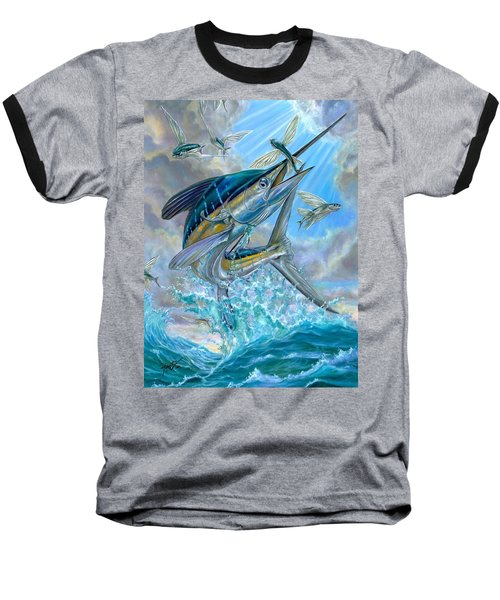 Jumping White Marlin And Flying Fish Baseball T-Shirt