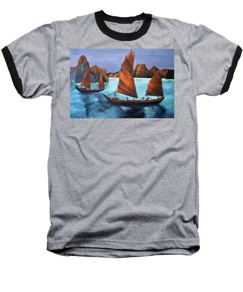 Baseball T-Shirt featuring the painting Junks In The Descending Dragon Bay by Tracey Harrington-Simpson