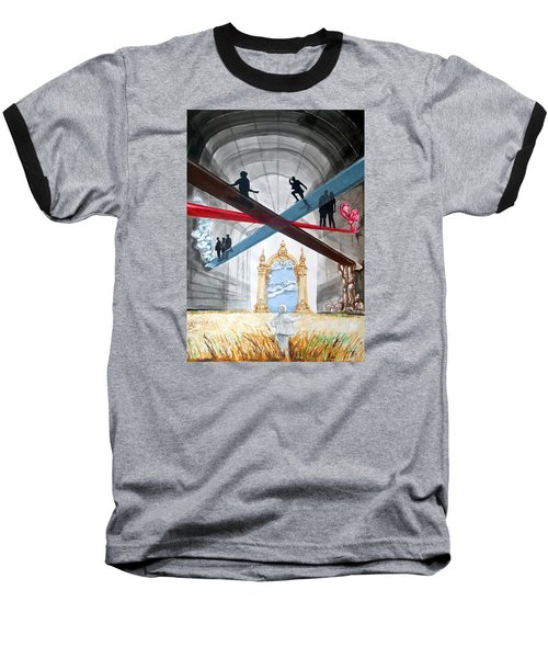 Baseball T-Shirt featuring the painting Just Paths  by Lazaro Hurtado
