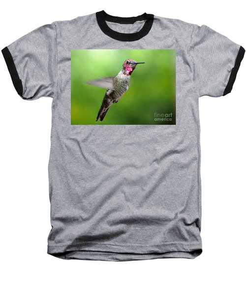 Baseball T-Shirt featuring the photograph Juvenile Male Anna's In Flight by Jay Milo