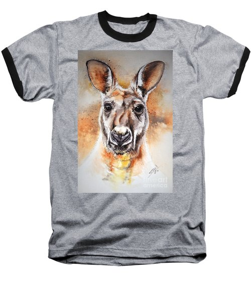 Baseball T-Shirt featuring the painting Kangaroo Big Red by Sandra Phryce-Jones