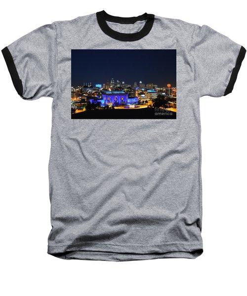 Kansas City Union Station In Blue  Baseball T-Shirt by Catherine Sherman
