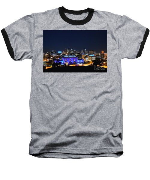 Kansas City Union Station In Blue  Baseball T-Shirt