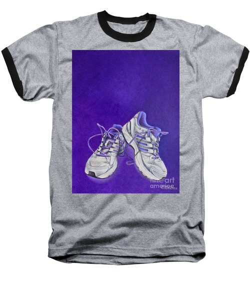 Baseball T-Shirt featuring the painting Karen's Shoes by Pamela Clements