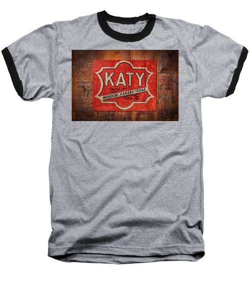 Katy Railroad Sign Dsc02853 Baseball T-Shirt by Greg Kluempers