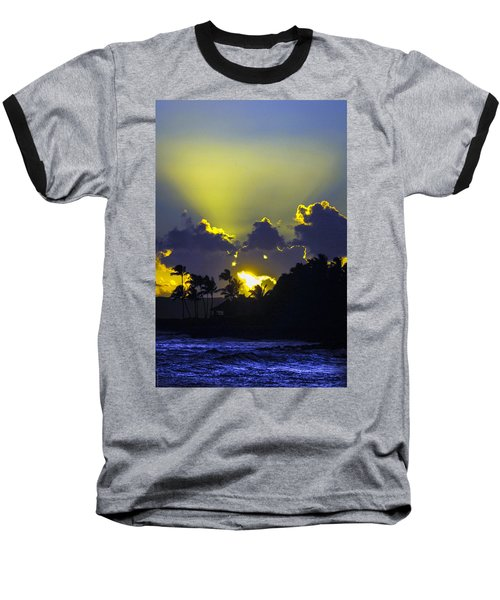 Kauai Sunset Baseball T-Shirt by Debbie Karnes