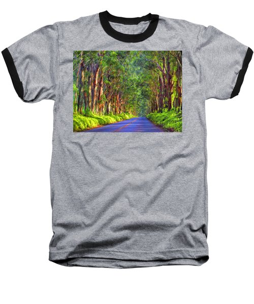 Kauai Tree Tunnel Baseball T-Shirt by Dominic Piperata