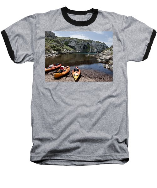 Kayak Time - The Landscape Of Cales Coves Menorca Is A Great Place For Peace And Sport Baseball T-Shirt by Pedro Cardona