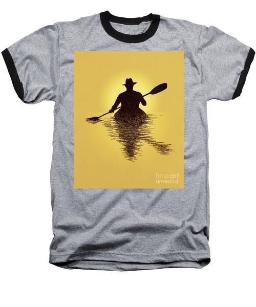 Kayaker Sunset Baseball T-Shirt by Garry McMichael