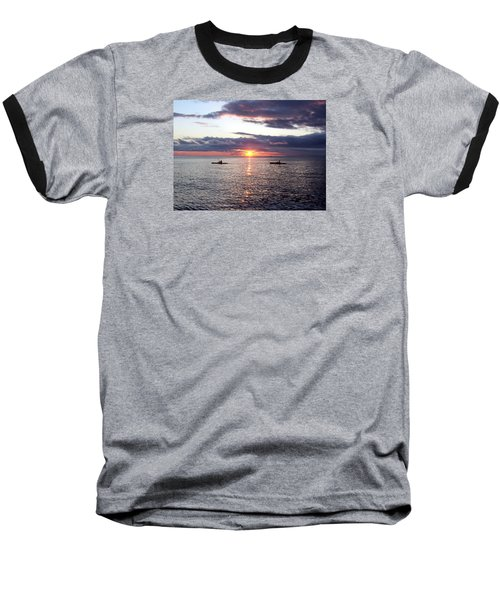 Kayaks At Sunset Baseball T-Shirt