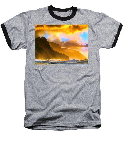 Ke'e Beach Sunset Baseball T-Shirt