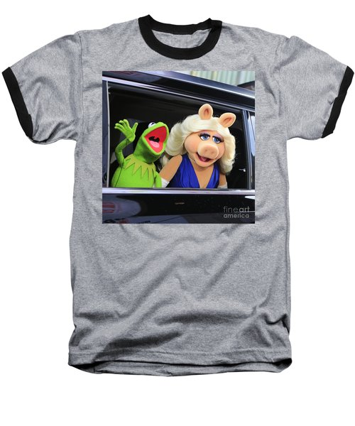 Kermit Takes Miss Piggy To The Movies Baseball T-Shirt by Nina Prommer