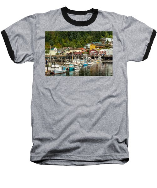 Ketchikan Harbor Baseball T-Shirt by Steven Bateson